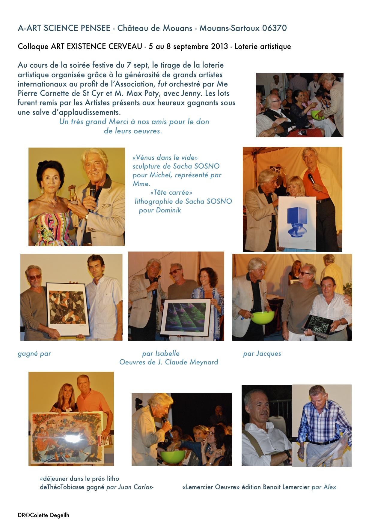 gagnants de la loterie artistique 2013